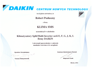 Certyfikat Daikin
